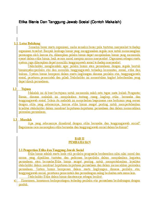 Laporan Etika Bisnis Perusahaan