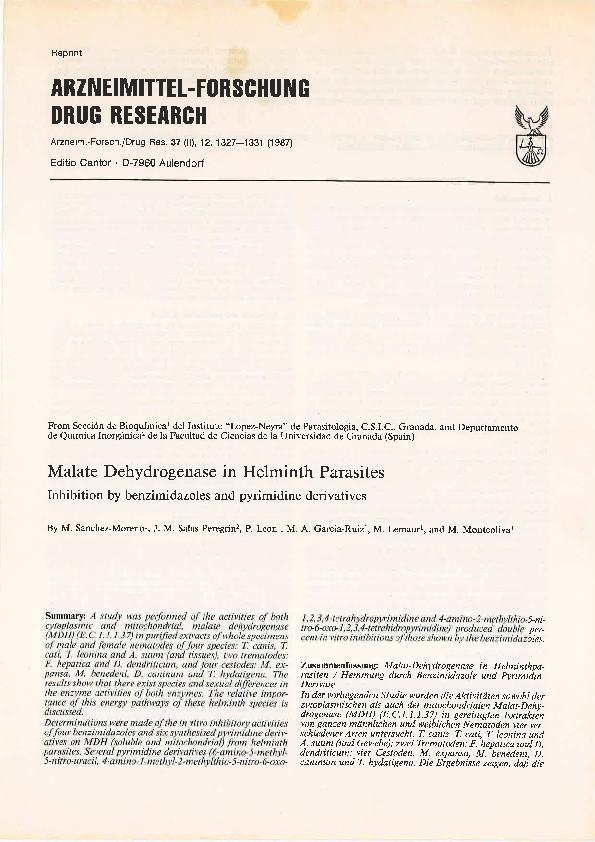 PDF) Malate dehydrogenase in helminth parasites  Inhibition