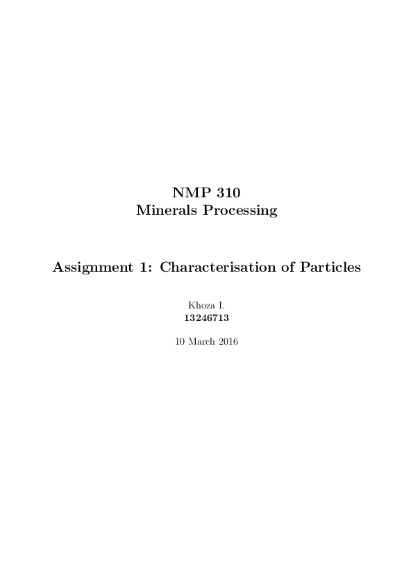 PDF) Characterisation of Particles: Particle Size