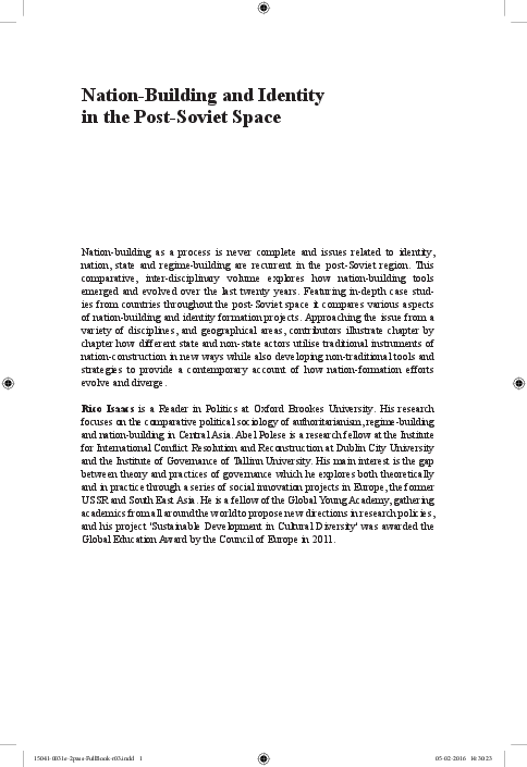 PDF) 3  Isaacs, R  and Polese, A  (eds ) (2016) Nation Building and