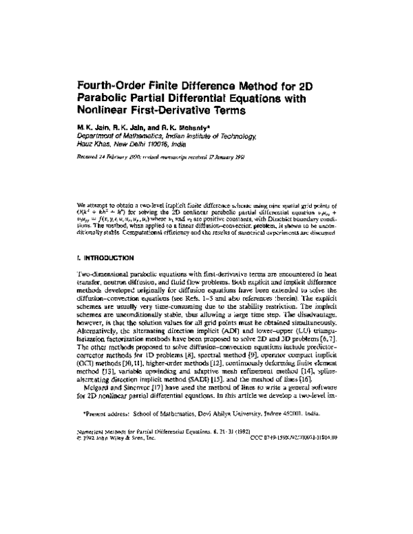 PDF) Fourth-order finite difference method for 2D parabolic partial