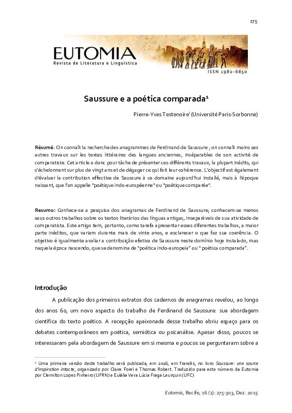 Saussure E A Poetica Comparada Pierre Yves Testenoire Academia Edu