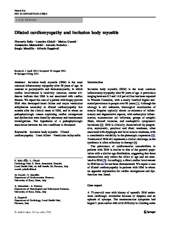 PDF) Dilated cardiomyopathy and inclusion body myositis | Matteo