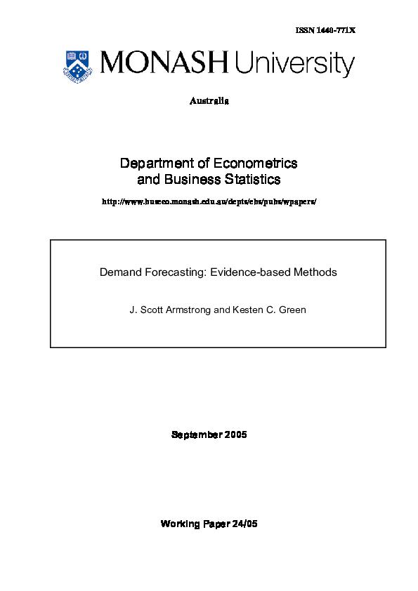 PDF) Demand forecasting: Evidence-based methods | Kesten Green