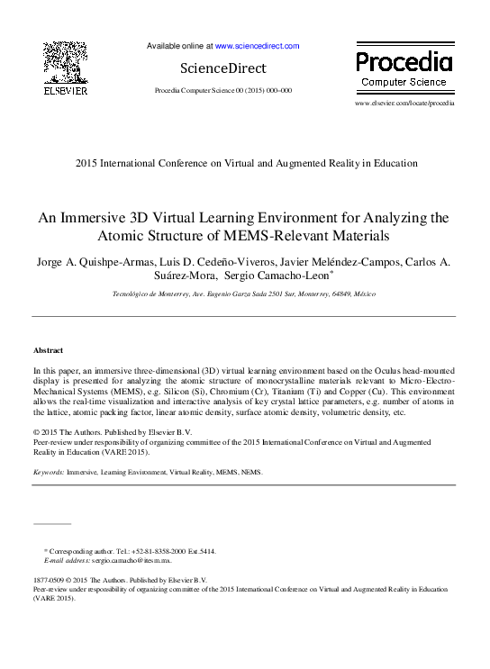 cb8e9e8d9e73 PDF) An Immersive 3D Virtual Learning Environment for Analyzing the ...