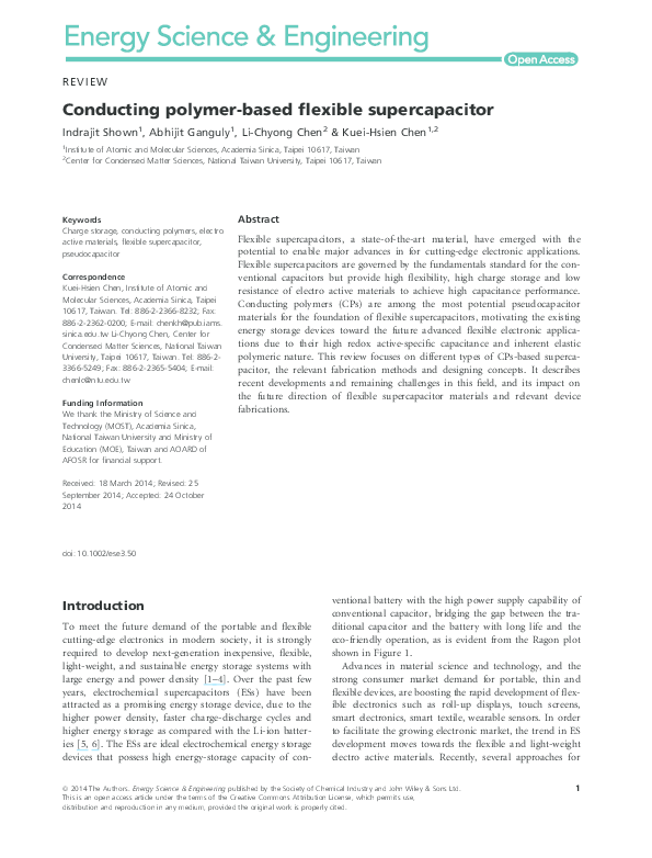 PDF) Conducting polymer-based flexible supercapacitor