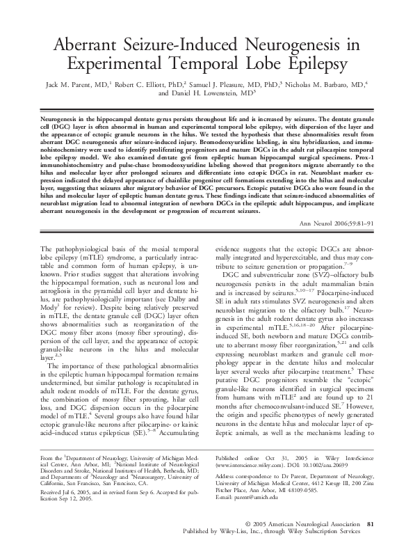 PDF) Aberrant Seizure-Induced Neurogenesis in Experimental