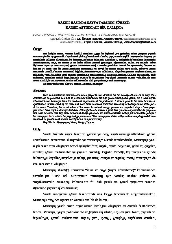 Doc Yazili Basinda Sayfa Tasarim Sureci Karsilastirmali Bir
