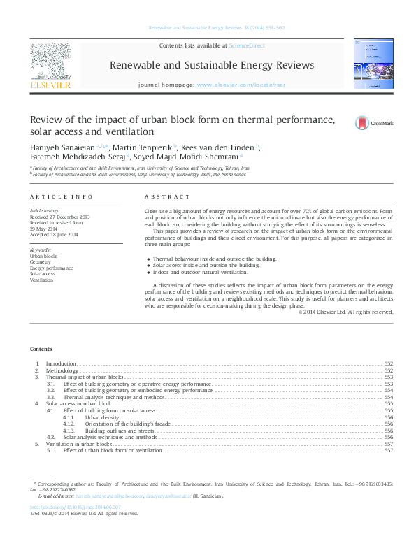 PDF) Review of the impact of urban block form on thermal