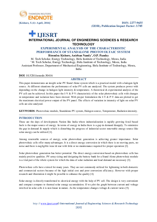 Pdf Experimental Analysis Of The Characteristic Performance Of Standalone Photovoltaic System Anirban Nandy Academia Edu
