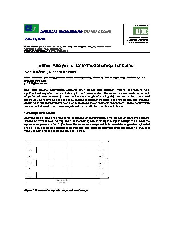 Doc Chemical Engineering Transactions Stress Analysis Of Deformed Storage Tank Shell Ivan Klucka Academia Edu