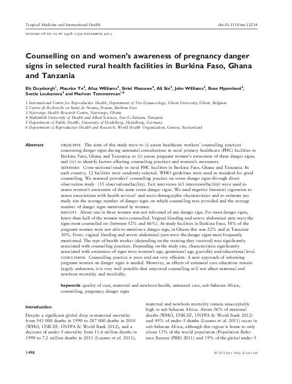 PDF) Counselling on and women's awareness of pregnancy