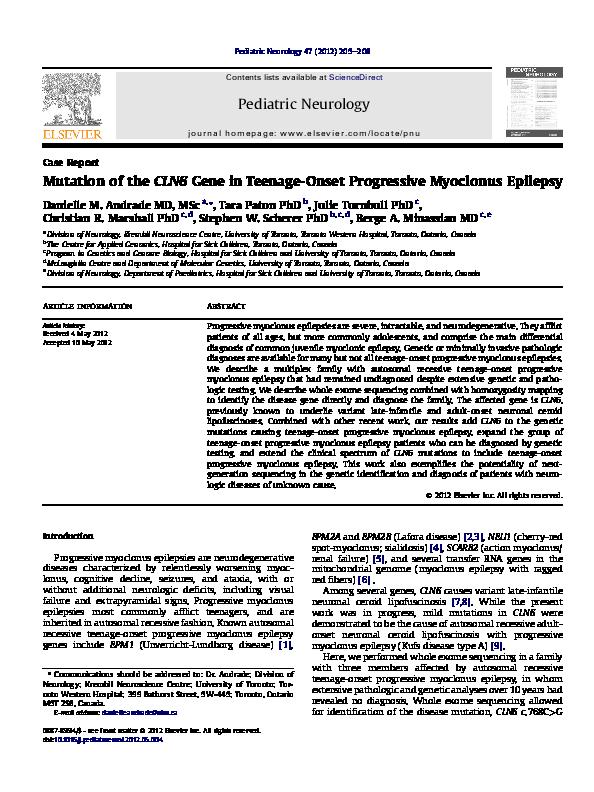 PDF) Mutation of the CLN6 Gene in Teenage-Onset Progressive