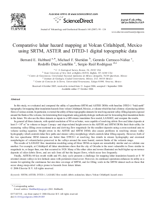 Pdf Comparative Lahar Hazard Mapping At Volcan Citlaltepetl Mexico Using Srtm Aster And Dted 1 Digital Topographic Data Michael Sheridan Academia Edu