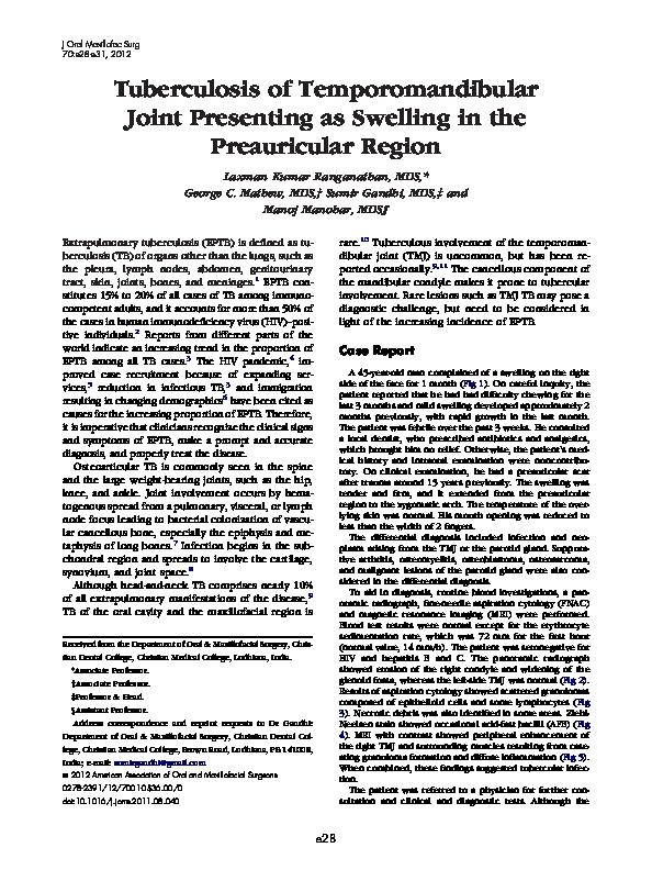 PDF) Tuberculosis of Temporomandibular Joint Presenting as