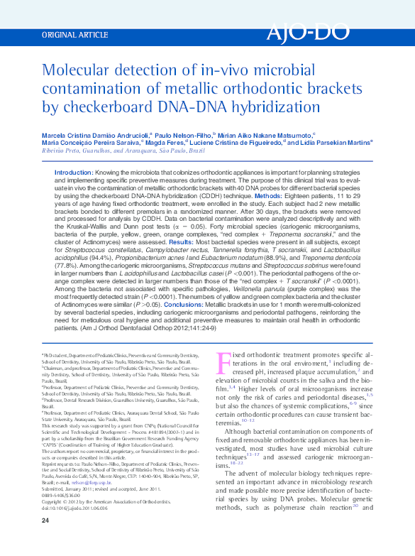 Molecular Detection Of In Vivo Microbial Contamination Of Metallic
