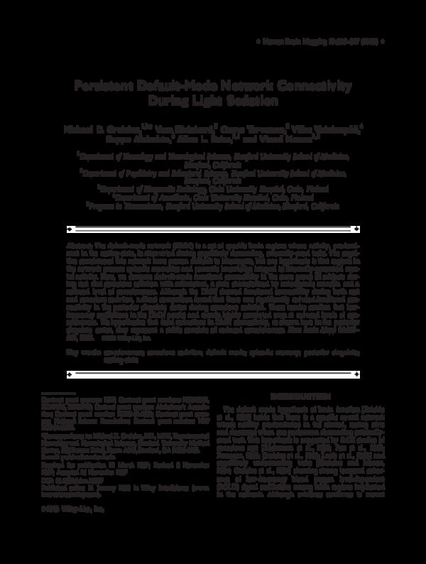 PDF) Persistent default-mode network connectivity during light