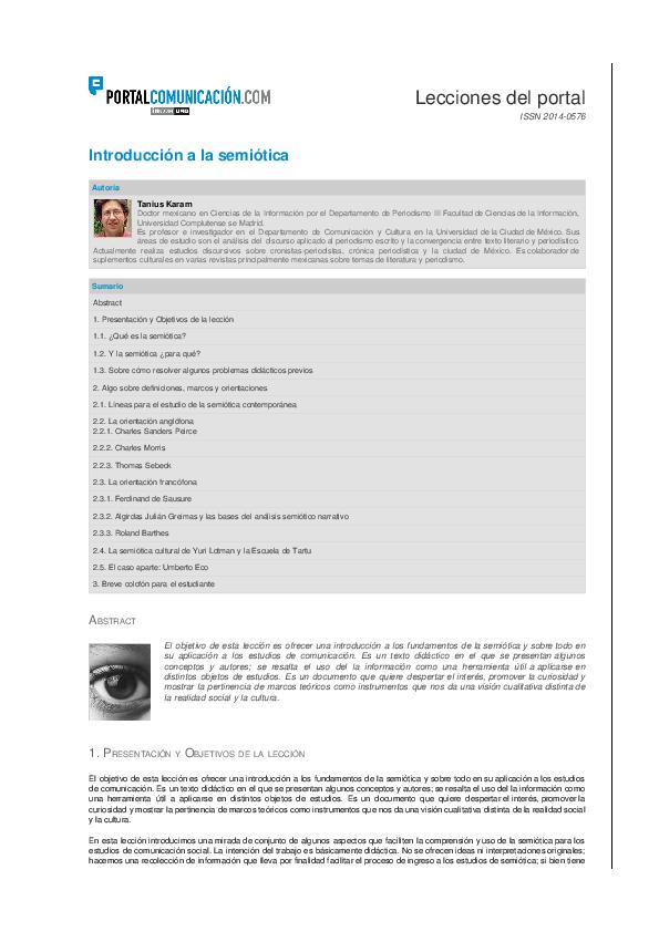 PDF) Introducción a la semiótica   Tanius Karam - Academia edu