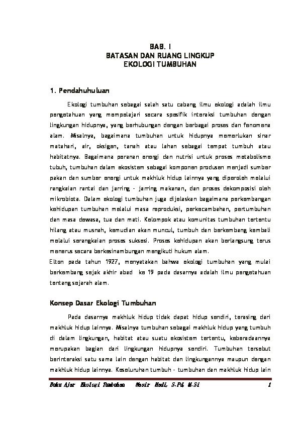 Pdf Buku Ajar Ekologi Tumbuhan Nasir Hadi Academia Edu