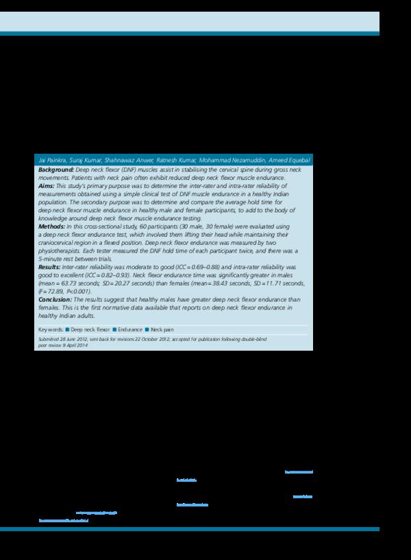 PDF) Reliability of an assessment of deep neck flexor muscle