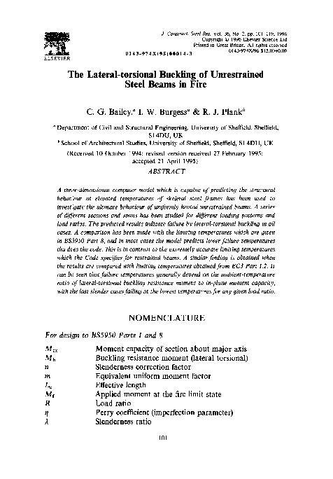 PDF) The lateral-torsional buckling of unrestrained steel beams in