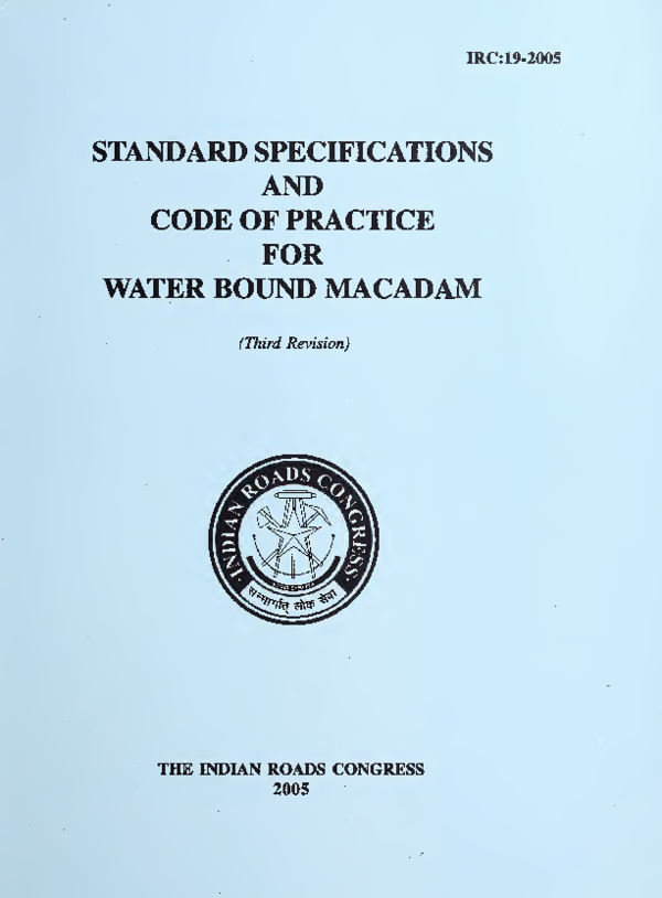 PDF) AND CODE OF PRACTICE FOR WATER BOUND MACADAM (Third