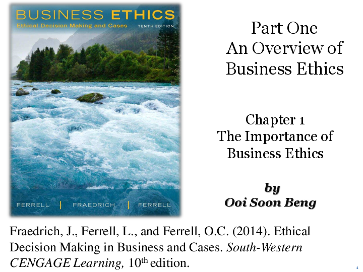PDF) Part One An Overview of Business Ethics Chapter 1 The