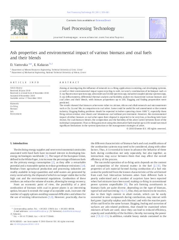 PDF) Ash properties and environmental impact of various biomass and