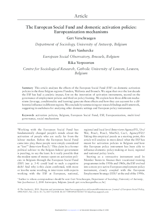 Pdf The European Social Fund And Domestic Activation