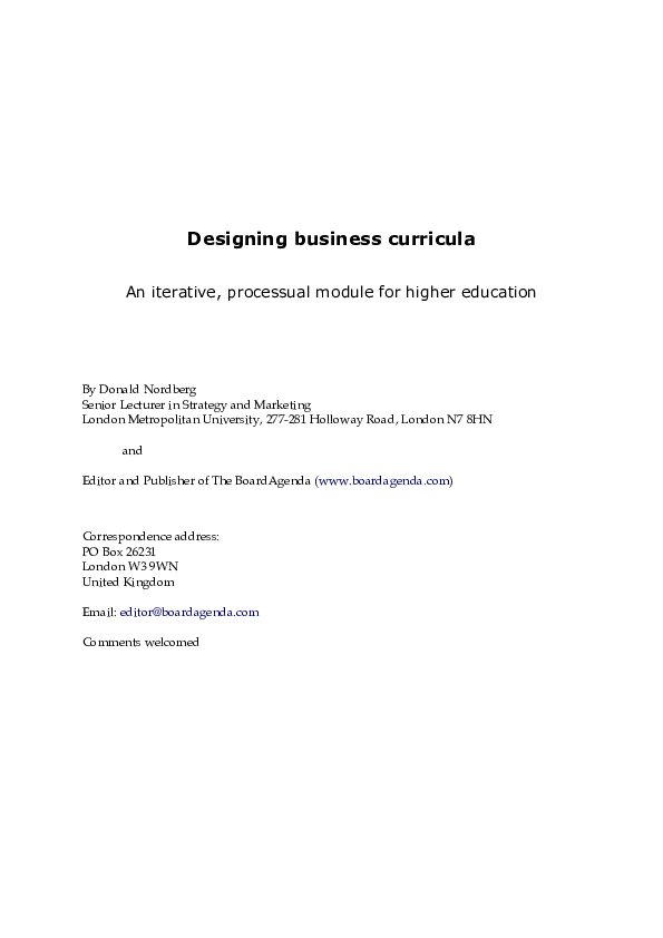 Pdf Designing Business Curricula An Iterative Processual Module For Higher Education Donald Nordberg Academia Edu