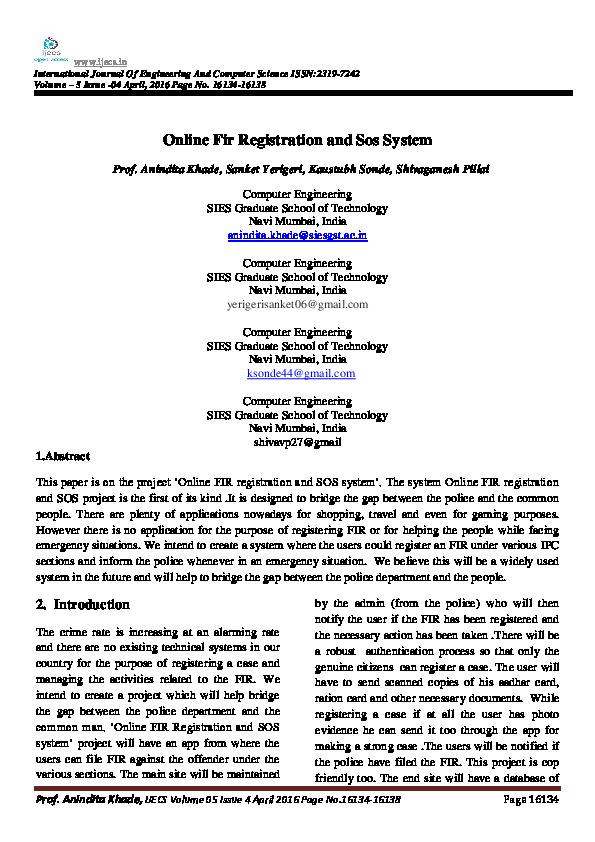 PDF) Online Fir Registration and Sos System | International Journal