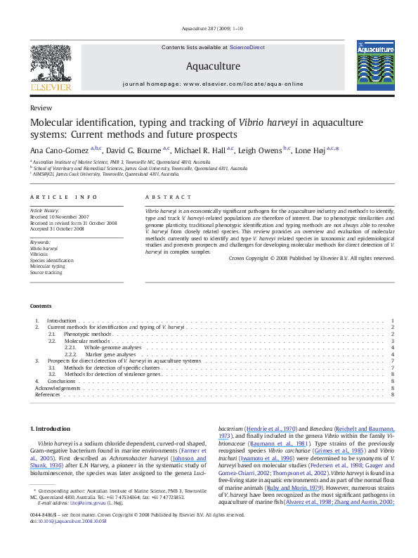 PDF) Molecular identification, typing and tracking of Vibrio