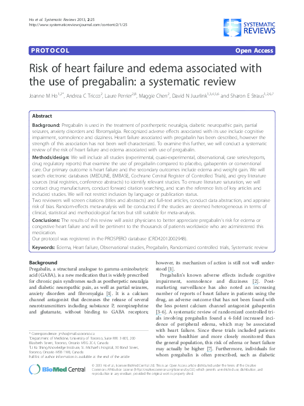 PDF) Risk of heart failure and edema associated with the use