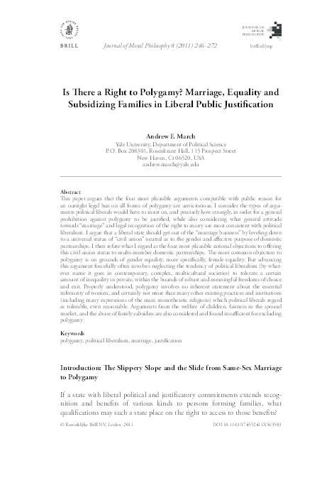 Is There a Right to Polygamy? Marriage, Equality and