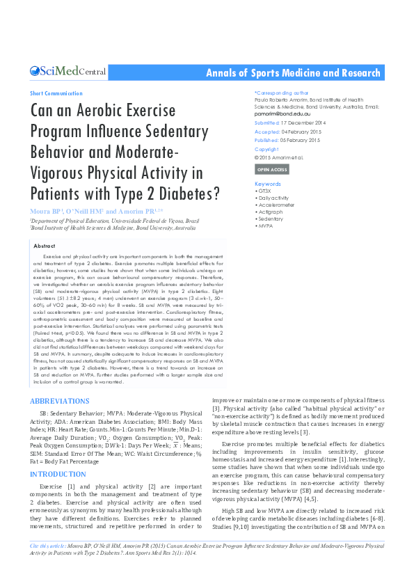 PDF) Annals of Sports Medicine and Research Can an Aerobic