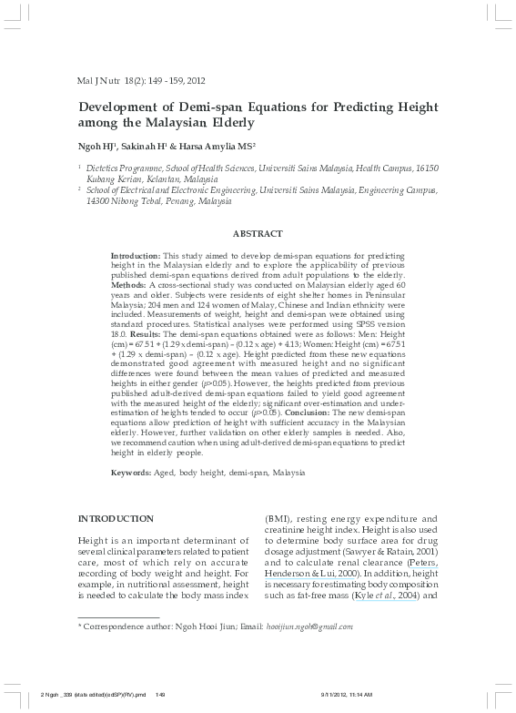 PDF) Development of demi-span equations for predicting height among