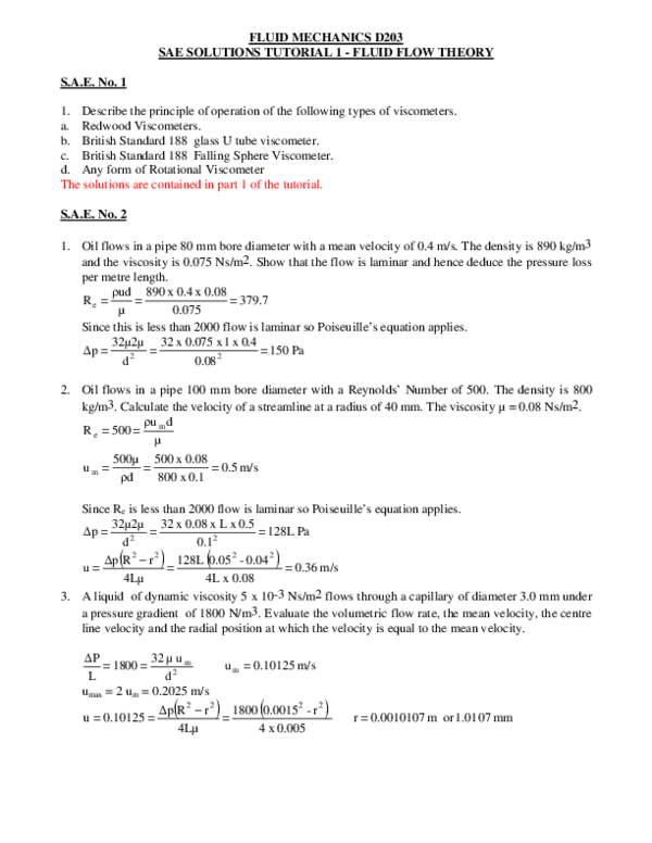PDF) FLUID MECHANICS D203 SAE SOLUTIONS TUTORIAL 1 -FLUID