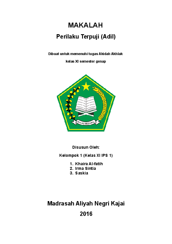 Doc Makalah Akidah Akhlak Tentang Adil Khaira Alfatih Academia Edu