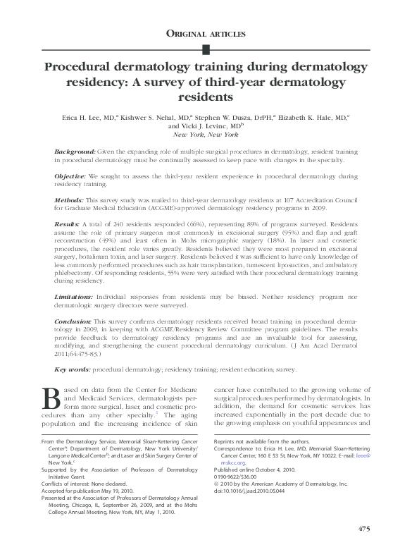 PDF) Procedural dermatology training during dermatology