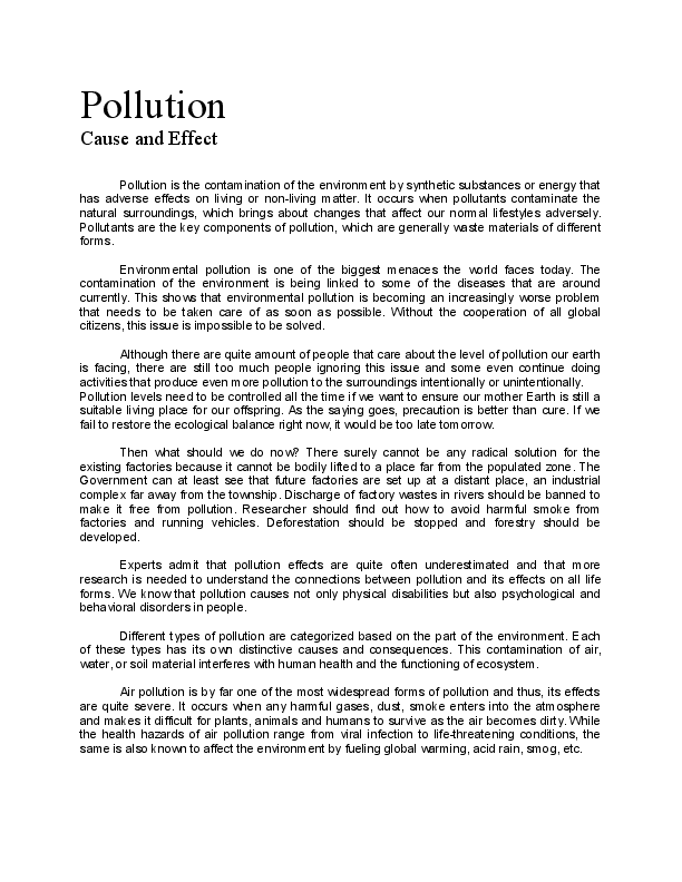 Pollution  Cause And Effect Essay  Nine Co  Academiaedu Docx