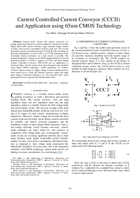 PDF) Current controlled current conveyor (CCCII) and