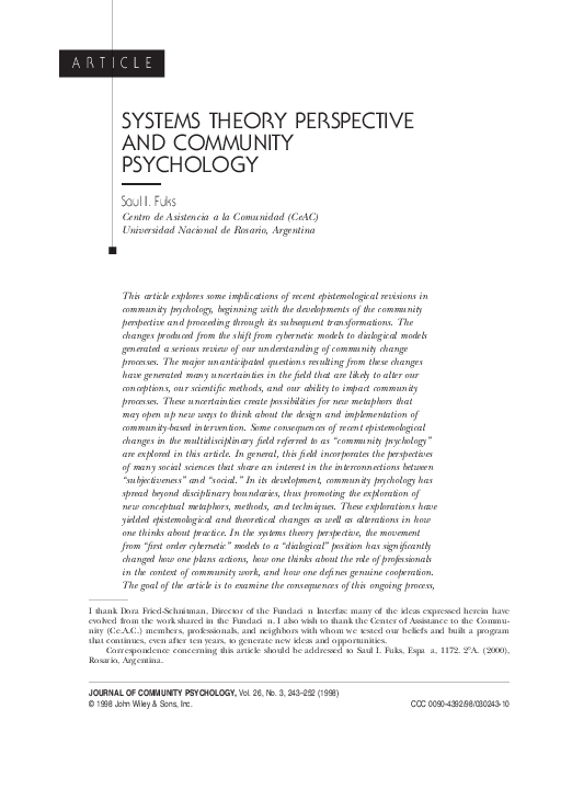 PDF) Systems theory perspective and community psychology