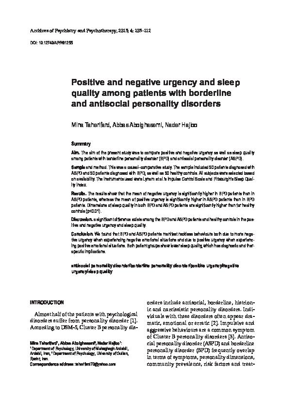 PDF) Positive and negative urgency and sleep quality among