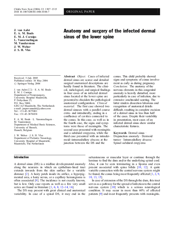 PDF) Intraspinal Dermoid and Epidermoid Tumors: Report of 18