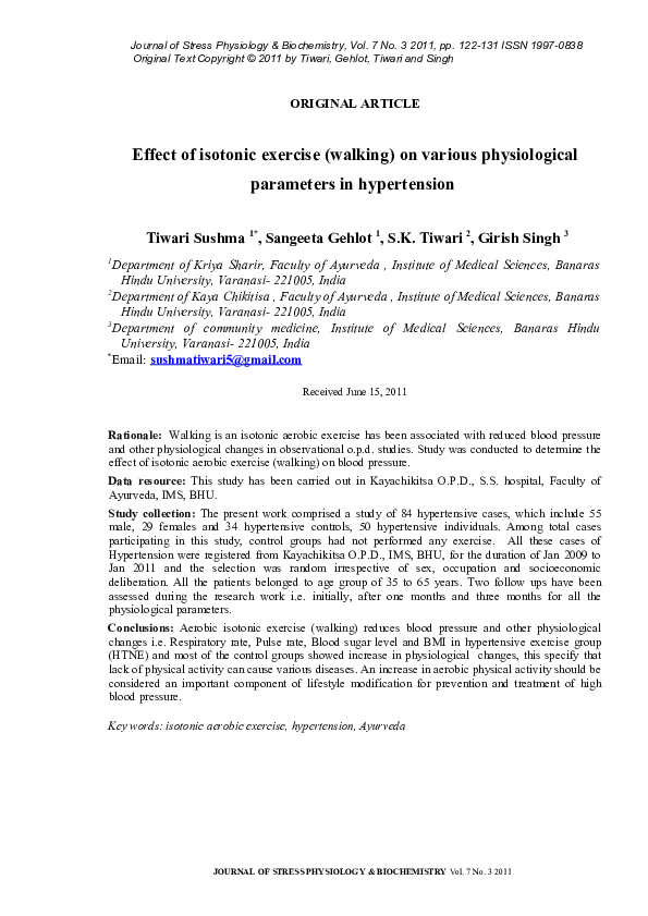 PDF) Effect of isotonic exercise (walking) on various physiological  parameters in hypertension | Girish Singh - Academia.edu