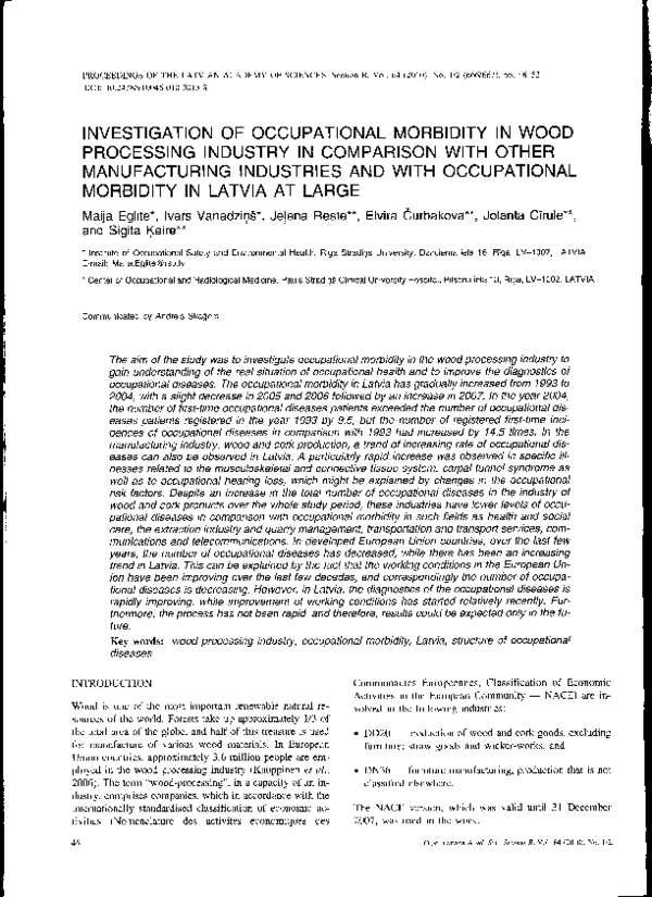 PDF) Investigation of occupational morbidity in wood
