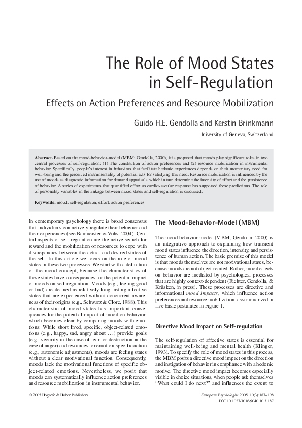 PDF) The Role of Mood States in Self-Regulation | Guido