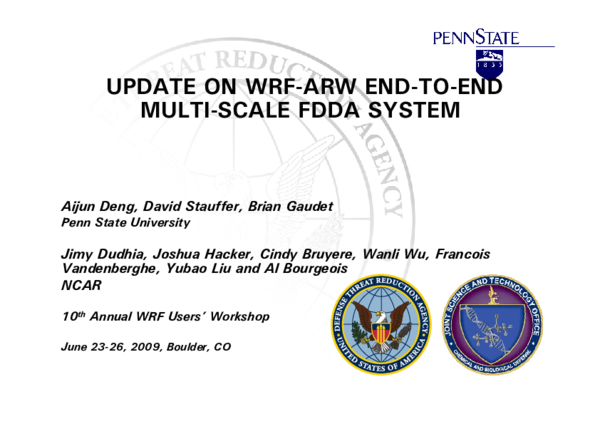 PDF) 1 9 UPDATE ON WRF-ARW END-TO-END MULTI-SCALE FDDA SYSTEM | Jimy