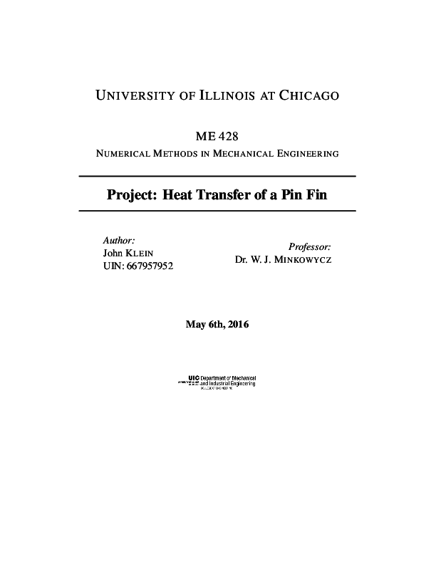 PDF) Project: Heat Transfer of a Pin Fin (Numerical Methods in