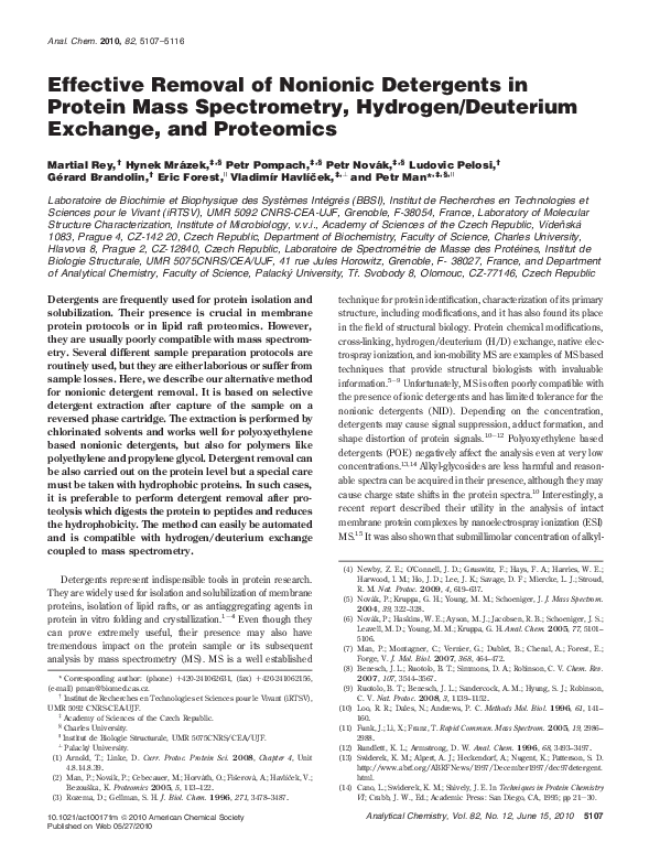 PDF) Effective Removal of Nonionic Detergents in Protein